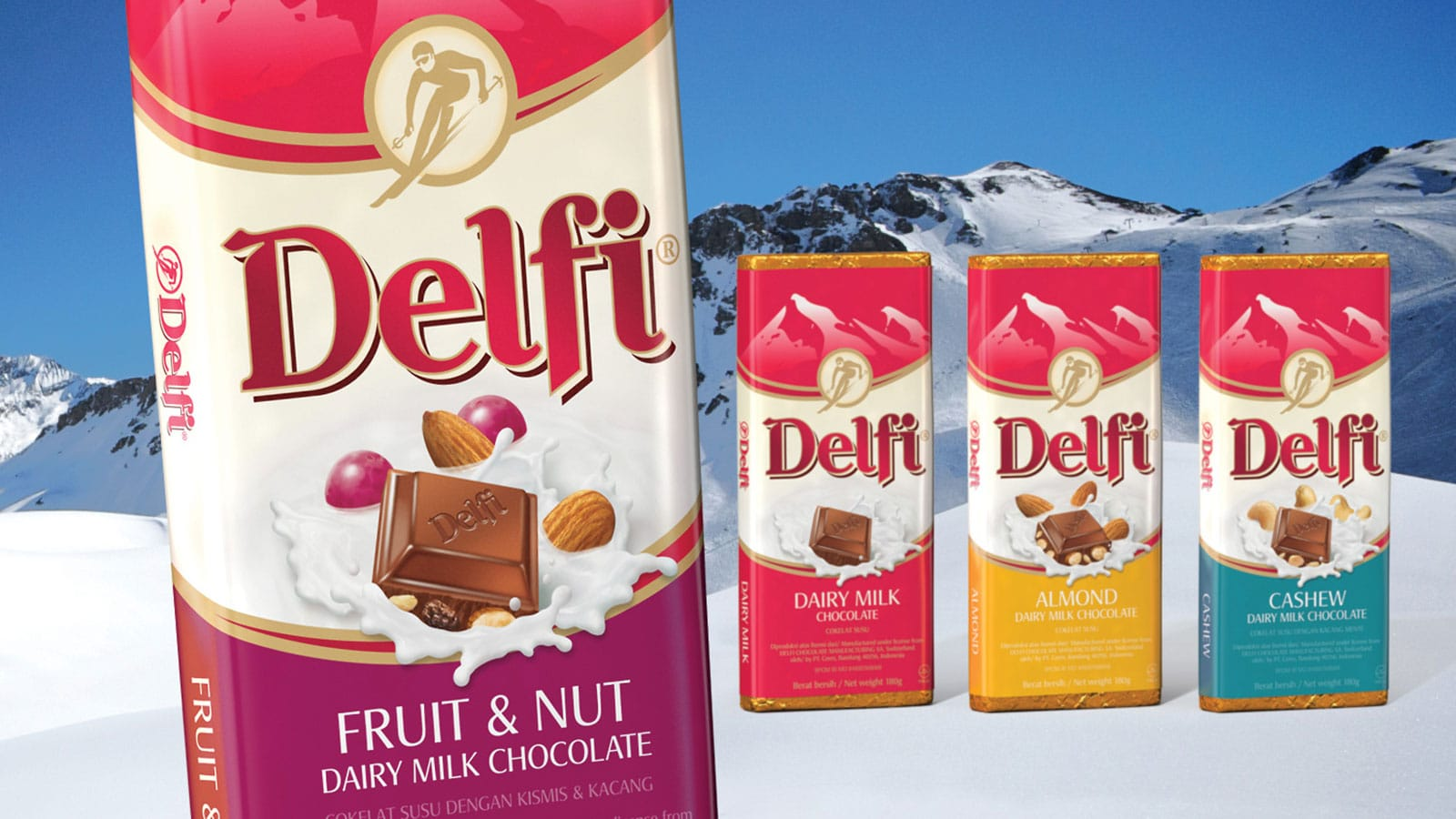 Delfi brand chocolate packaging redesign
